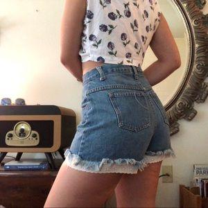 Lace Hem Vintage High Waisted Jean Shorts